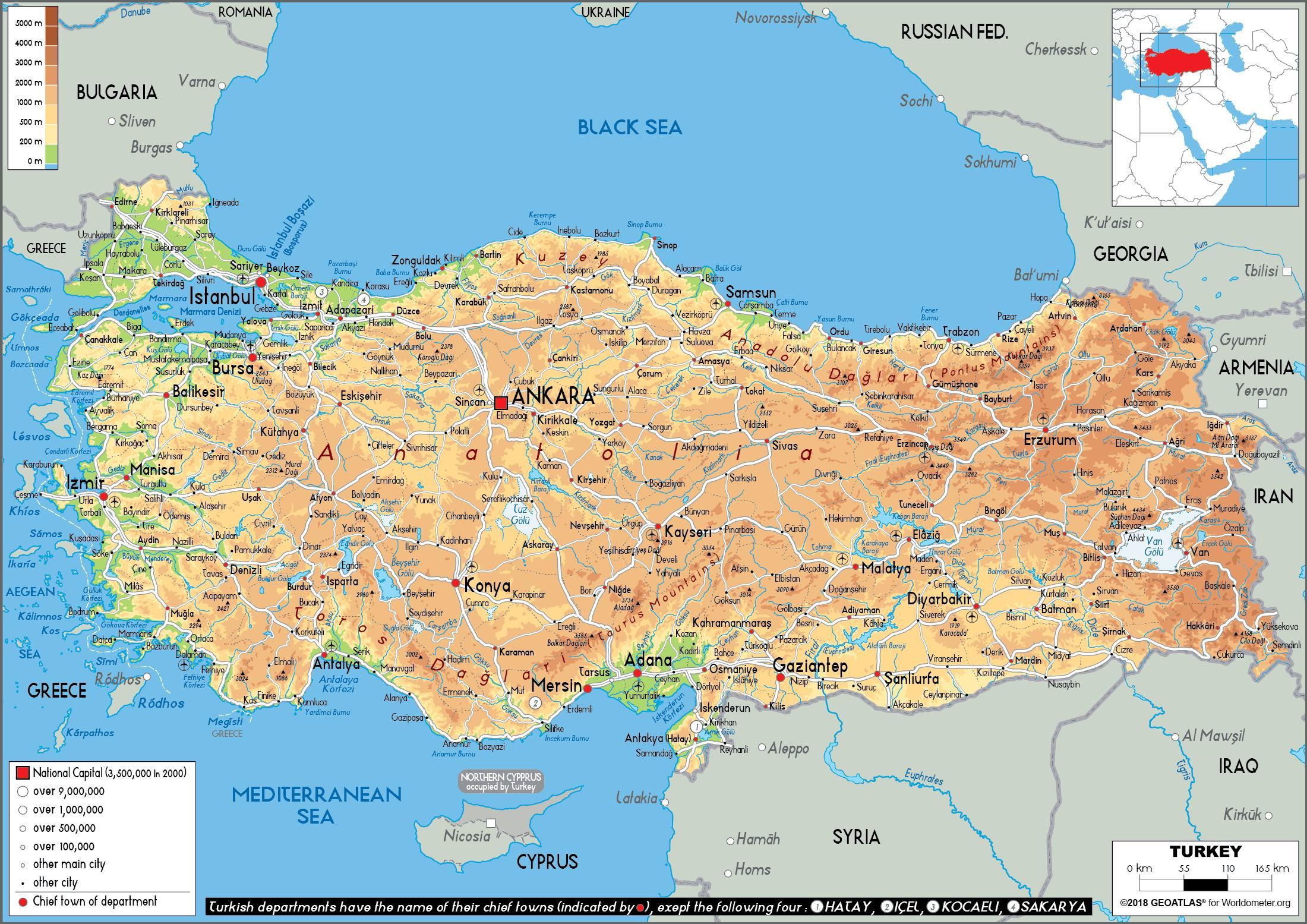 Tyrkiet Oerne Kort Kort Over Tyrkiet Oer Vestlige Asien Asien