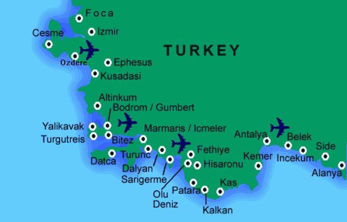 Tyrkiet Beach Kort Bedste Strande I Tyrkiet Kort Det Vestlige